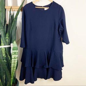 ELIZA J navy blue mini dress ruffle hem 18W